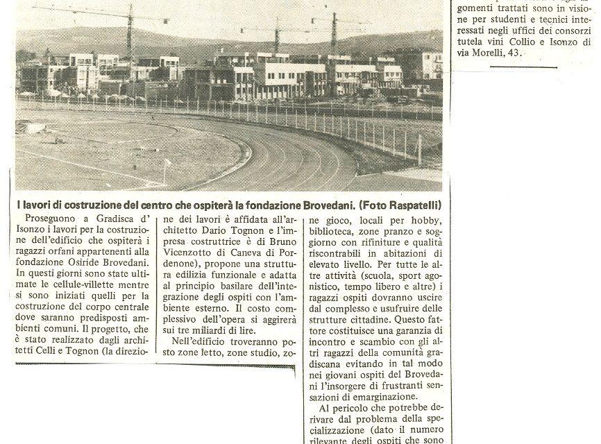 Proseguono i lavori per costruire il centro della fondazione Brovedani