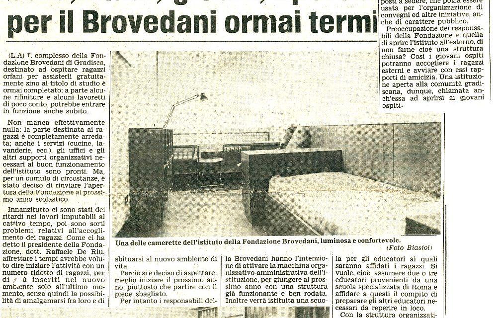 Sale, studi, giochi e sport per il Brovedani ormai terminato