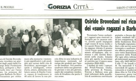 """Osiride Brovedani nel ricordo dei """"suoi"""" ragazzi a Barbana"""