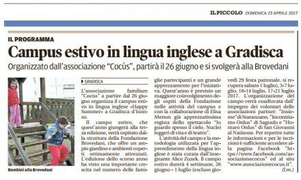 Campus estivo in lingua inglese a Gradisca