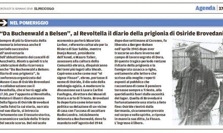 """""""Da Buchenwald a Belsen"""", al Revoltella il diario della prigionia di Osiride Brovedani"""