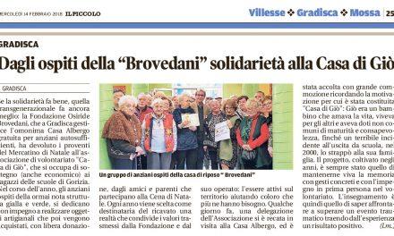 """Dagli ospiti della """"Brovedani"""" solidarietà alla Casa di Giò"""